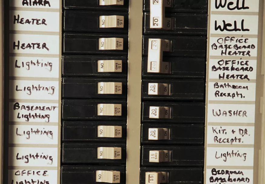 Inside look at a labeled circuit breaker panel